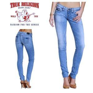 True Religion STELLA Skinny Distressed Blue Jeans